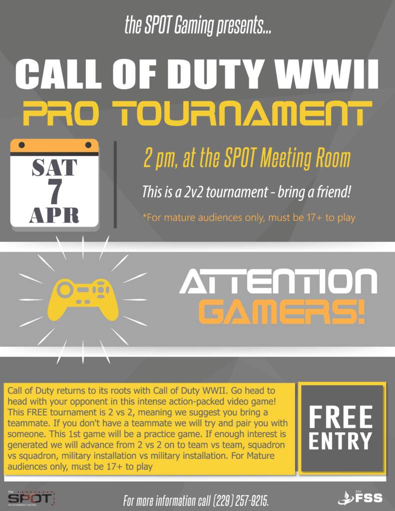 Call of Duty WWII Game Tournament @ The SPOT