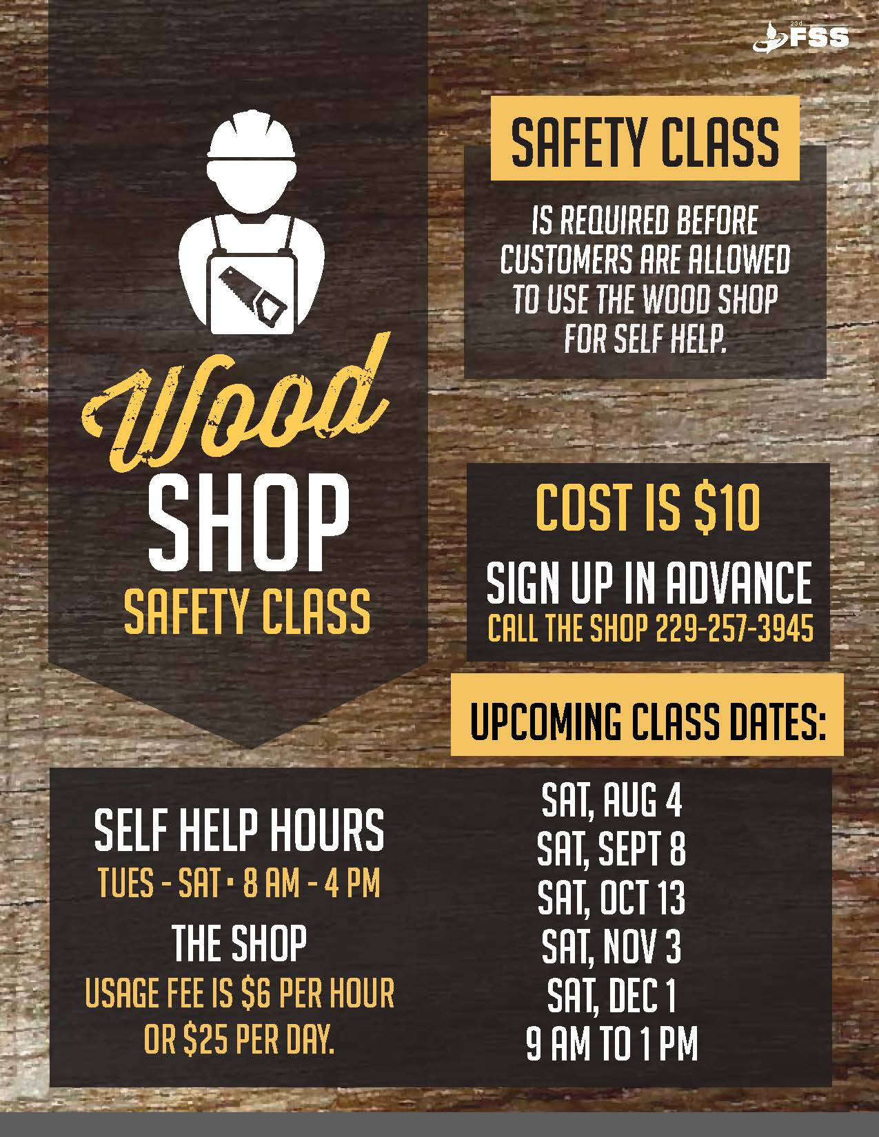 Wood Shop Safety Class Moody Afb Force Support Squadron